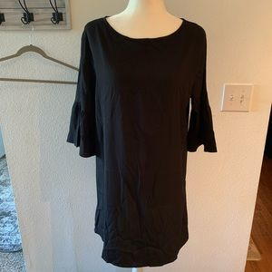Black dress with frilled sleeve detail